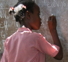 Morning lessons in Haitian school